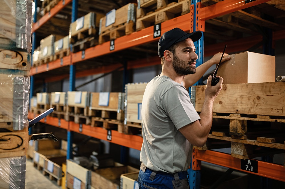 males dispatcher in a warehouse