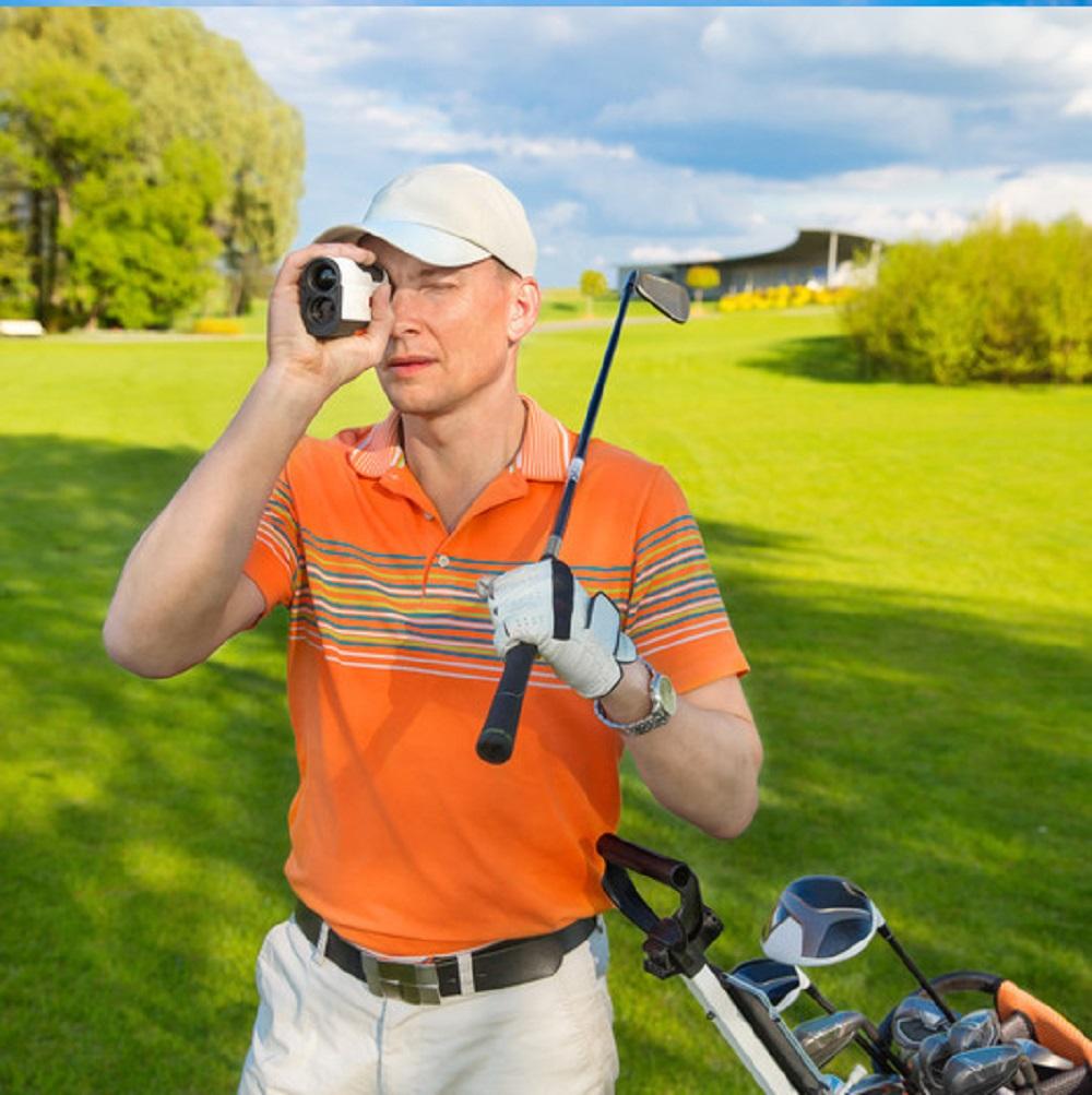 golfer with a rangefinder