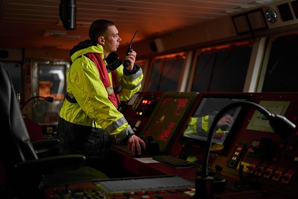 captain using a marine radio