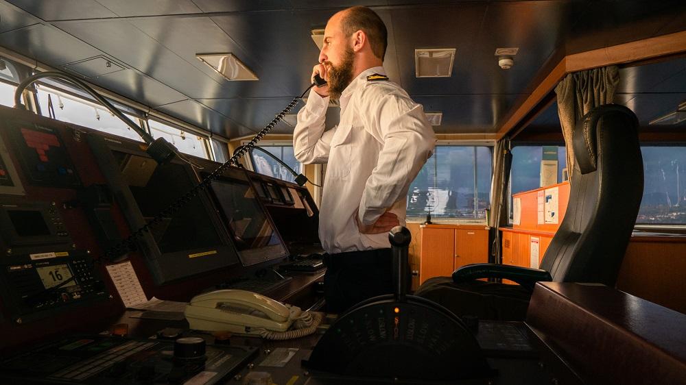 captain of the ship calling via vhf radio